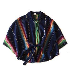 Vintage 70s Southwest Boho Navy Blue Wool Poncho